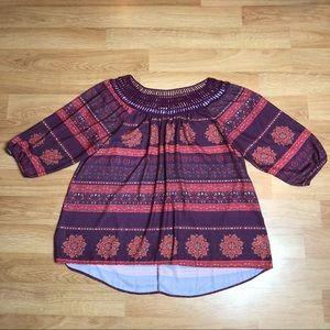 EYESHADOW maroon eyelet crochet shirt Blouse Sz 2X